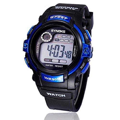 Tongshi multifunción Chico Fecha de Alarma de Cuarzo LED Digital de los Deportes del Reloj Resistente al Agua (Azul)