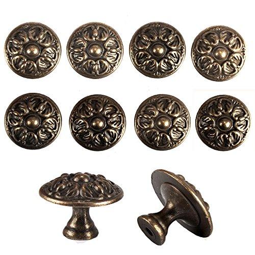 Racksoy 10x Retro Antik Möbelknopf Möbelknöpfe Schubladengriff Schlossblüten Muster Bronzeknöpfe Zinklegierung Schrank Kommoden Ziehgriffe