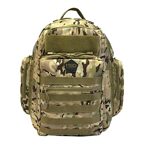 HSD Diaper Bag Backpack for Dad, Large Waterproof Travel Baby Bag for Men + Changing Pad, Insulated Pockets, Stroller Straps and Wipe Pocket. Multi-function, Military Tactical Style. (Multicam)