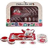 deAO Juego de Té en Maletín Portátil Conjunto Infantil de 14 Piezas Incluye Tetera, Platos y Tazas Diseño Metálico de Imitación Maleta Picnic (Rojo)