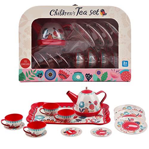 deAO Set da tè in Valigetta Portatile Set di 14 Pezzi per Bambini Include Teiera, Piatti e Tazze Progettazione Metallico Gioco d'Imitazione Valigia da Picnic (Rosso)