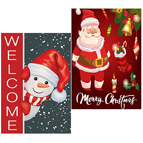 OBSGUMU 2Pcs Christmas Garden Flags 12x18 Double Sided, Outdoor Christmas Decoration Flag Snowman Welcome and Santa Claus,Outdoor Decorative Sign Outside Banner for Home Lawn Yard