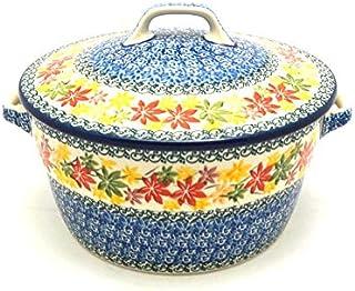 Polish Pottery Baker - Round Covered Casserole - Maple Harvest