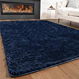 Gorilla Grip Original Premium Fluffy Area Rug, 2x4 Feet, Super Soft High Pile Shag Carpet, Washer and Dryer Safe, Rugs for Floor, Luxury Home Carpets for Nursery, Bed and Living Room, Midnight Blue