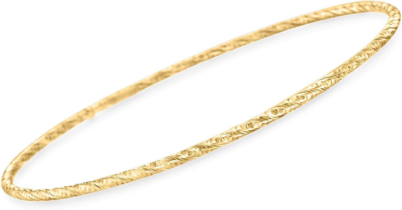 Ross-Simons Italian 14kt Yellow Gold Textured Bangle Bracelet