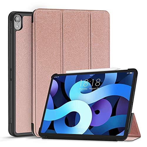 TNP Funda Compatible con iPad Air 4th 10,9 Pulgadas 2020 (A2324 A2072 A2316 A2325), Carcasa Protectora Delgada con Función de Soporte y Auto-Sueño, Estuche Antigolpes para Tabletas (Oro Rosa)