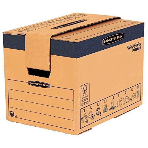 BANKERS BOX SmoothMove Heavy Duty Umzugskarton aus doppelt verstärkter Wellpappe mit Tragegriffen, schneller FastFold Aufbau ohne Klebeband, 37.5 Liter, 30 x 30 x 40.5 cm, 5 Stück