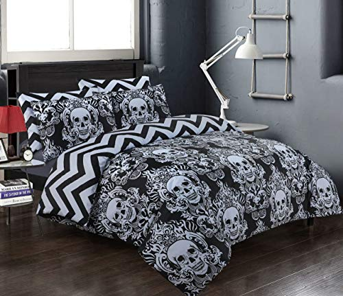 EHD Skull Pattern Black/White 100% Cotton Luxurious 200 Thread Count Duvet Cover Sets Reversible Bedding Sets FL (Single Duvet Set)