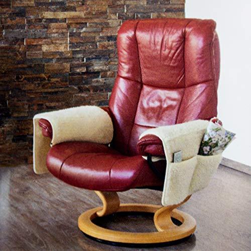 DbKW Schurwoll- Armlehnen-Schoner mit Taschen, 2er Set. Sesselauflage, Sessel- Überwurf, Sesselschoner