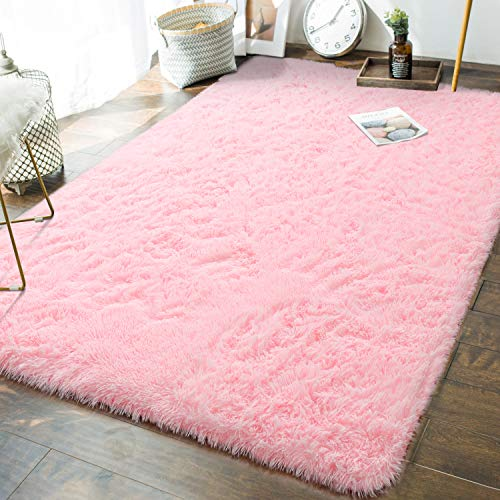 Andecor Soft Fluffy Bedroom Rugs - 5 x 8 Feet Indoor Shaggy Plush Area Rug for Boys Girls Kids Baby College Dorm Living Room Home Decor Floor Carpet, Pink