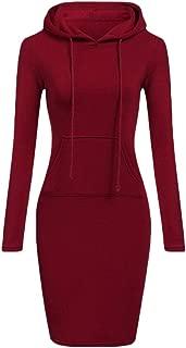 Women Causal Hoodie Dress Pullover Pocket Keen Length Slim Sweatshirt