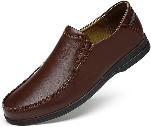 Xuyaowzr zapatos Formales de Cuero de Moda para Hombre,marrón,42
