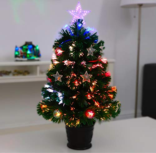 Christmas Concepts 2FT (60CM) GREEN FIBRE OPTIC CHRISTMAS TREE WITH STARS AND BAUBLES WITH BLACK BASE
