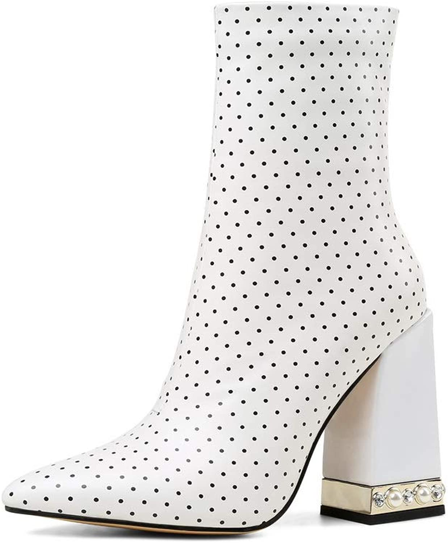 AdeeSu Womens Hounds-Tooth High-Heels Boots Leather Boots SXE04502