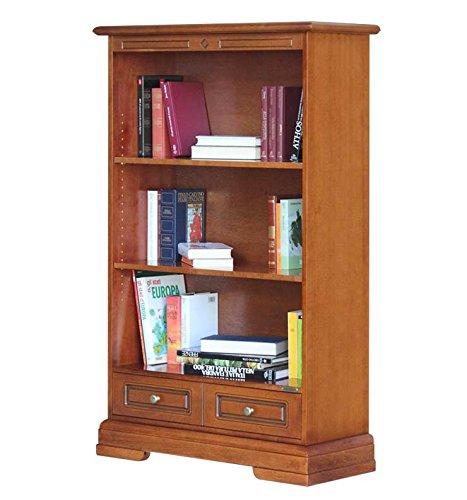 Bücherregal aus Holz mit Schublade und 2 bewegliche Einlegeböden, starke Struktur schon montiert, Regal für Bücher Wohnzimmer Büro Arbeitzimmer NEU Made in Italy