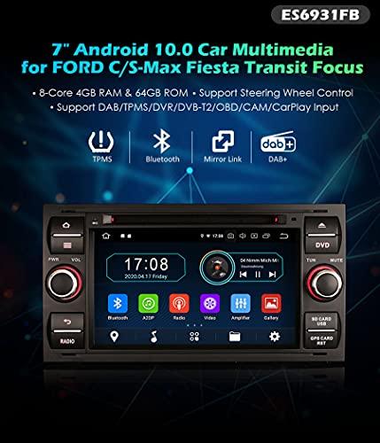 Radio de Coche Erisin ES6931FB 7' Android 10.0 DVD per Ford Transit Kuga Fiesta Fusion Connect GPS Dab TV BT
