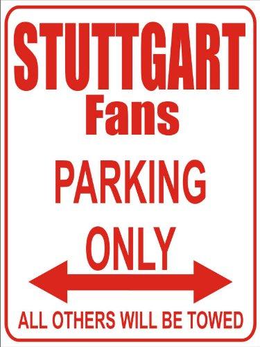 INDIGOS UG - Parking Only - Stuttgart - Garage/Carport - Parkplatzschild 32x24 cm schwarz/Silber - Alu-Dibond - Folienbeschriftung