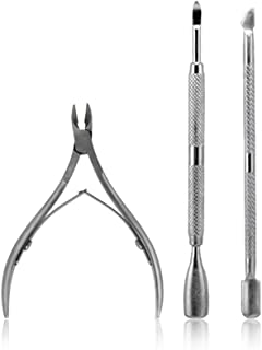 KADS 3pcs/set Stainless Steel Nail Tool Kits Scissor Nipper Cuticle Tool Spoon Pusher Dead Skin Remover Cutter Clipper Trimmer