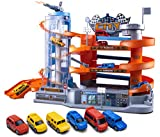 UNIH Kids Garage Toy Set, Toy Vehicle Garage for Toddlers, 4 Level Parking Lot Toys with Ramp Elevator and 6 Car Toy Set, Car Ramp Toy for Boys