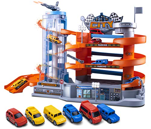 UNIH Kids Toy Car Garage, Toy Car Garage for Toddlers, 4 Level Parking Lot Toys with Ramp Elevator and 6 Car Toy Set, Car Ramp Toy for Boys