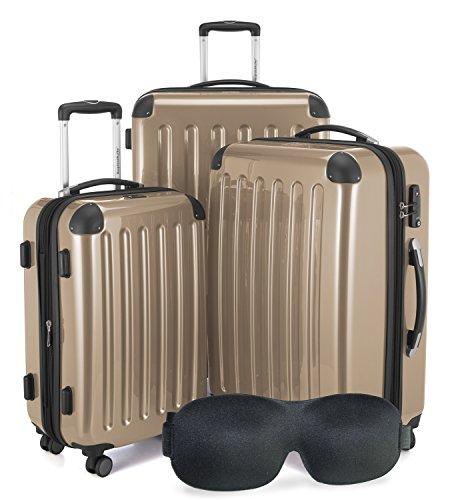 HAUPTSTADTKOFFER - Alex - NEU 4 Doppel-Rollen + Gratisartikel 3er Koffer-Set Trolley-Set Rollkoffer Reisekoffer, TSA, (S, M & L), Champagner
