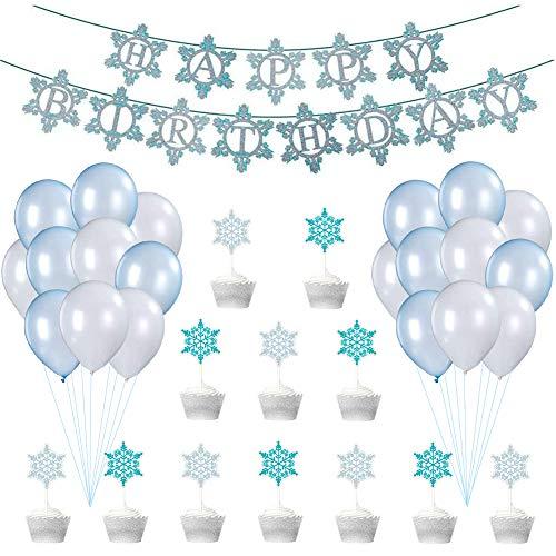 Palloncino Fiocco di Neve Kit LLMZ 33 Pezzi Decorazioni Feste Compleanno Fiocchi Neve Frozen Decorazioni Feste Palloncini in Lattice Blu Bianco Toppers per Torta DIY