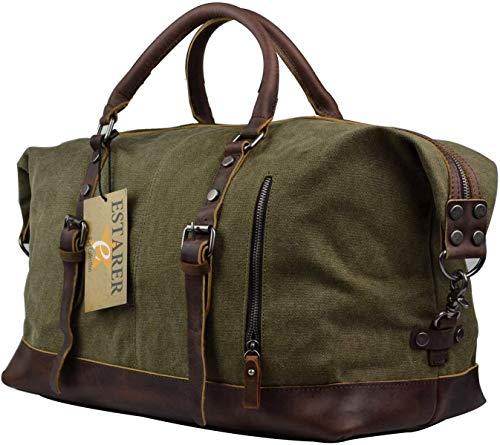 Estarer Borsone Weekend Bag Borsa da Viaggio per Sport di tela e pelle aggiornato Esercito verde Version Grande