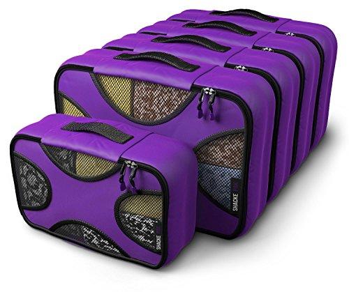 Shacke Pak - 5 Set Medium/Small Packing Cubes - Travel Organizers (Orchid Purple)