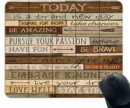 Mouse Pad Today is a Brand New Day Inspirational Quotes Gaming Mouse Pad Vintage Wood Wall Art Unique Design Non-Slip Rubber Base Mousepad for Computer Laptop