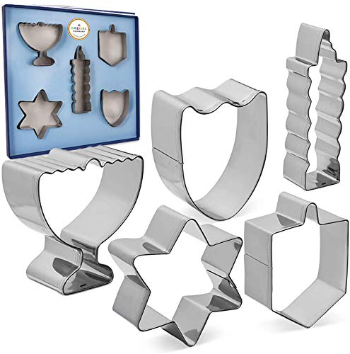 Hanukkah Shaped Cookie Cutters, Five Hanukkah Shaped Cookie Cutters - Menorah, Dreidel, Chanuka Candle, Star, Maccabee Shield