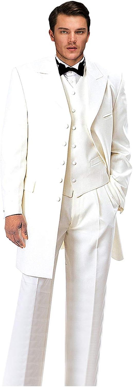 Wemaliyzd Men's Vintage 3 Pieces Suit Classic Fit Tuxedo Plus Size Vest Pants