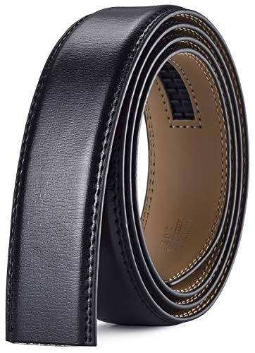 Xhtang Cinturón sin Hebilla Para Hombres, Cinturón Para Cinturón Automático de Ancho 3.5, Negro Marrón Blanco Azul