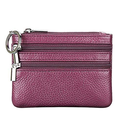 Cartera Monedero Pequeñas Piel Genuino Slim Portatarjetas Mini Cremallera con Ilavero para Mujer (Púrpura)