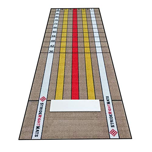 Baseball/Softball Pitching Mat | Mound Overlay Stance & Stride Throwing Trainer with Power Lanes & Pitching Rubber | Stride Right Mats: Advanced Pitcher (3mm Rubber (for Use on Hard Flat Surfaces))