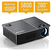 """Native 1080P Projector, Crenova HD Video Projector, 5800 Lux LED Movie Projector with 200"""" Display, Compatible with TV Stick, HDMI, VGA, USB, iPad, PC, Xbox, iPhone for Home Theater Entertainment"""