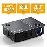 Native 1080P Projector, Crenova HD Video Projector, 5800 Lux LED Movie Projector with 200' Display,...