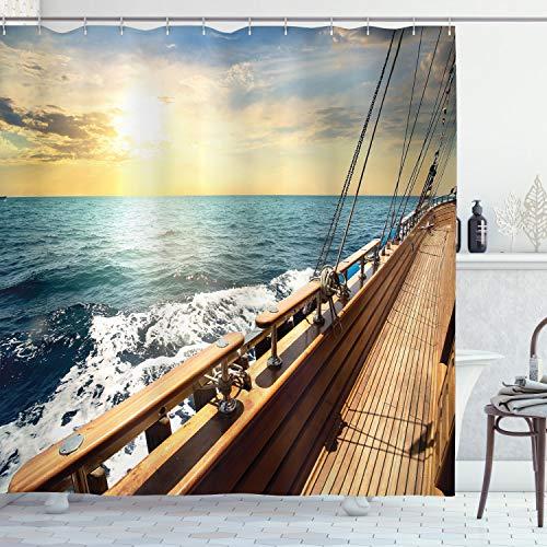 ABAKUHAUS Náutico Cortina de Baño, Velero Sea Sunset, Material Resistente al Agua Durable Estampa Digital, 175 x 240 cm, Crema y Azul
