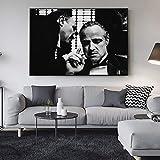 qggbgv Póster e Impresiones artísticas en Lienzo en Blanco y Negro de Padrino Retrato de Padrino Pinturas en Lienzo Arte de Pared Imagen de película decoración del hogar