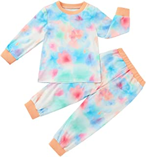 Unisex Baby Outfits Toddler Girl Tie-dye Long Sleeve Tops Tot Boy Pants 2pcs Pjs Clothes Sets