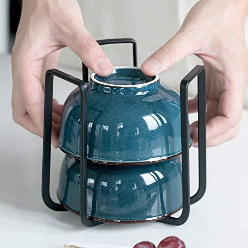 Tisi 2 Packs Bowl Organizer Holder,Dish Storage Rack,Kitchen Tool, Kitchen Bowl Organizer Holder Water Drain Dish Storage Rack House Home Tool,Shelf Display Stand for Kitchen Cabinet, Cupboard (B&W)