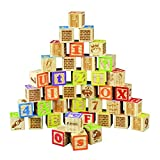 HNaGRDMMP Bausteine für Kleinkinder Bausteine Letters Spielzeug ABC-Blöcke 40PCS Stacking-Block-Babybuchstaben, Zählen, Baustein-Satz