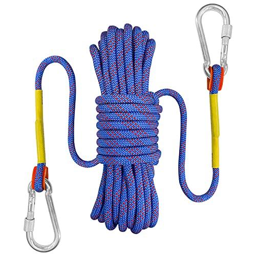 Bolatus 9mm Sicherheitsseil 10 Meters, Nylon im Freien Rettungsseil Hochfestes Seil mit Karabiner Sicherheitsseil für Anwendungen Notüberleben, Feuerrettung Tragegewicht 1500 KG