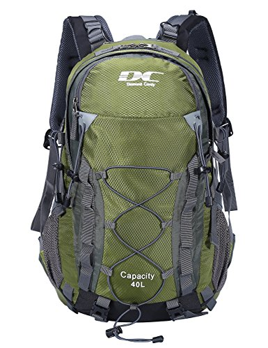 Diamond Candy 40L Waterproof Backpack Hiking Day with Rain Cover for Outdoor Camping Armygreen, 40L