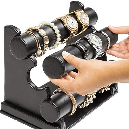 FKKURACK 3 Niveau en Cuir PU Montre Holder Bureau Bracelet Jewelry Show Rack Affichage Affichage Stand