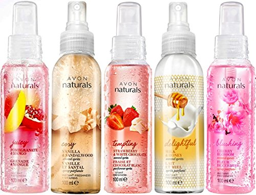 5 flaconi di spray per il corpo Avon Naturals Mix da 100 ml