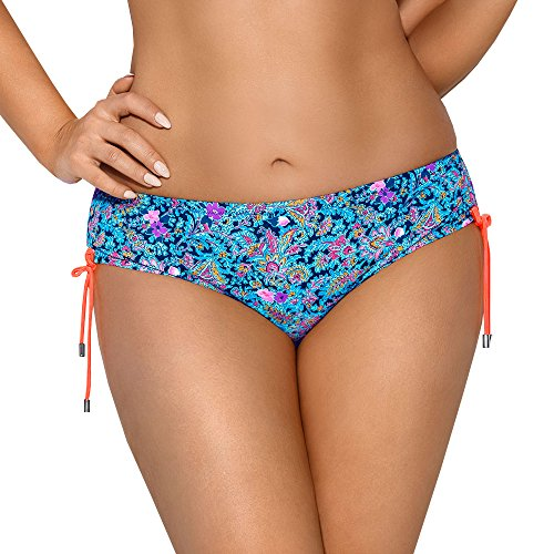 AVA SF-66/2 Dame Bikini Slips Bademode Normaler Bund, Blau-Orange,S