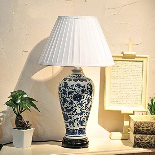 DNSJB Amerikaanse land keramische tafellamp slaapkamer bedlampje woonkamer studie blauw en wit porselein decoratieve bureaulamp knoopschakelaar stof lampenkap