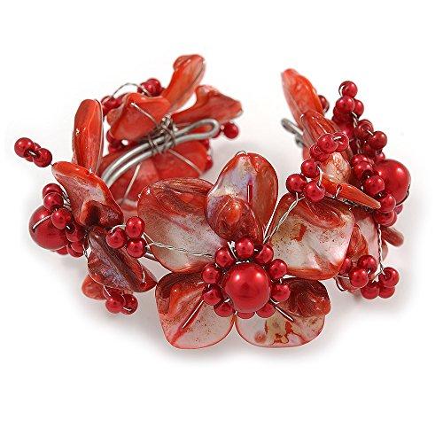 Avalaya - Braccialetto flessibile flessibile con conchiglia rossa, con perle finte, lunghezza 19 cm