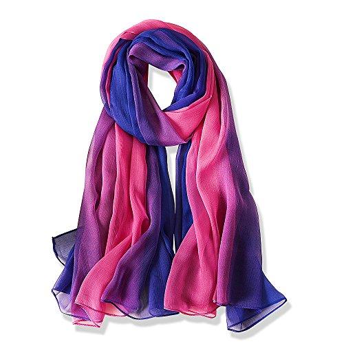 YFZYT Mujeres Bufanda/Echarpe/Pañuelo/Foulard, Mujeres Voile Suave Chales Bufanda De Gasa Muffler chal abrigo para Boda Playa Fiesta Noche - Degradado de Color#24