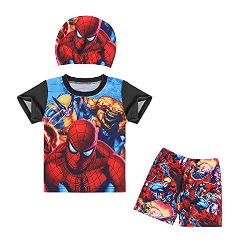 MYYLY Spiderman Enfant Maillot Bain Enfants Dessin Animé Maillots Natation Formation Manches Courtes Surfsui Garçon Fille Été Plage Vacances Plongée sous-Marine,Black-M Kids (115~125CM)